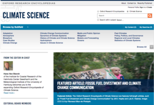 ORE Climate Science homepage screenshot.